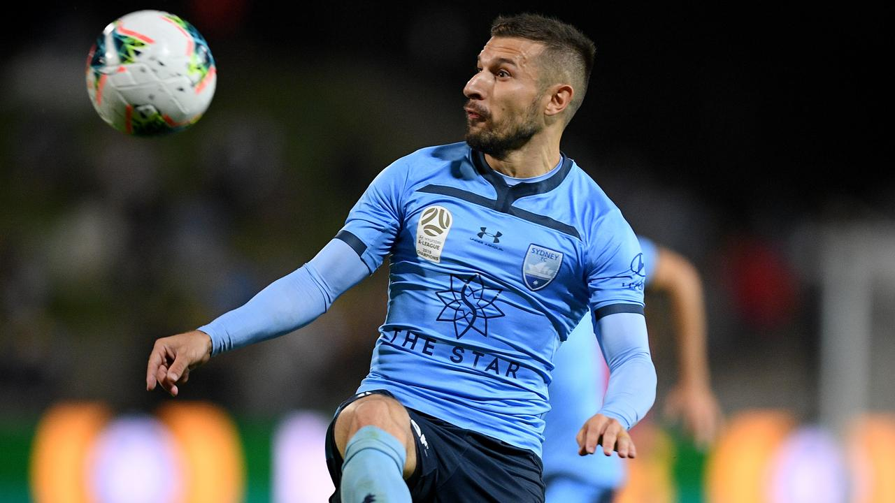 Sydney FC's Kosta Barbarouses scored the only goal of the match against the Mariners. Picture: AAP