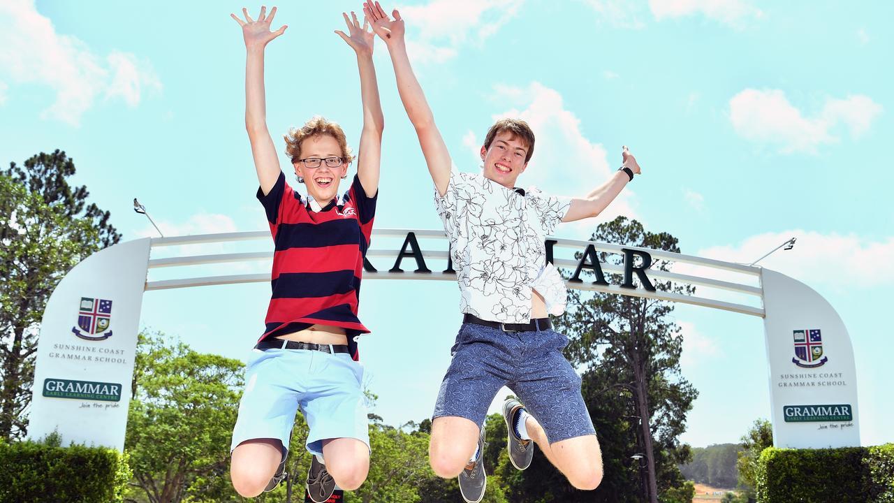 YOU BEAUTY: OP 1 students from Sunshine Coast Grammar School Kristian Norved and Patrick Donovan celebrate their efforts. Photo: John McCutcheon / Sunshine Coast Daily