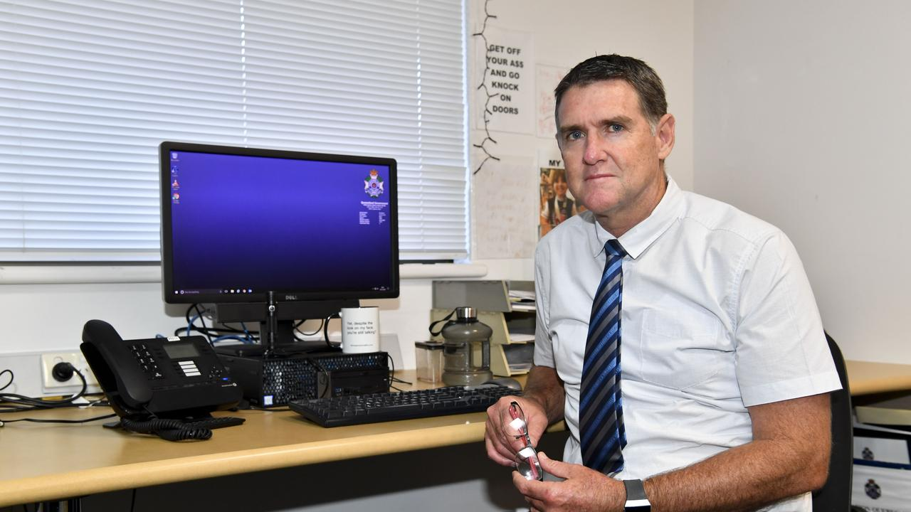 Maryborough drug enforcement team detective senior constable Glen Dehnert at Hervey Bay police station talking about the ripple effect drugs have in the local community.