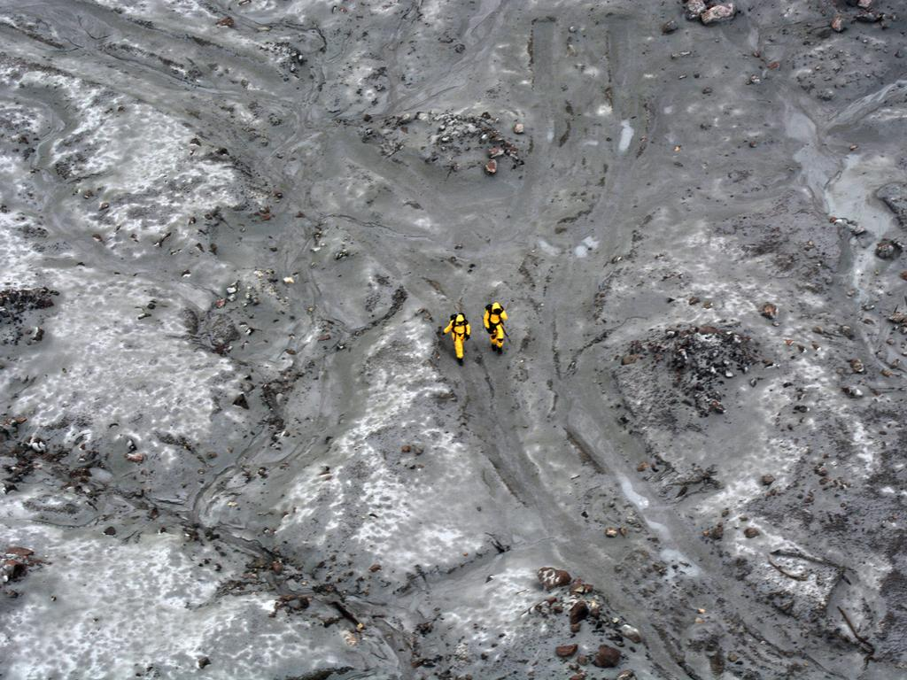 The recovery operation at Whakaari/White Island. Picture: Getty