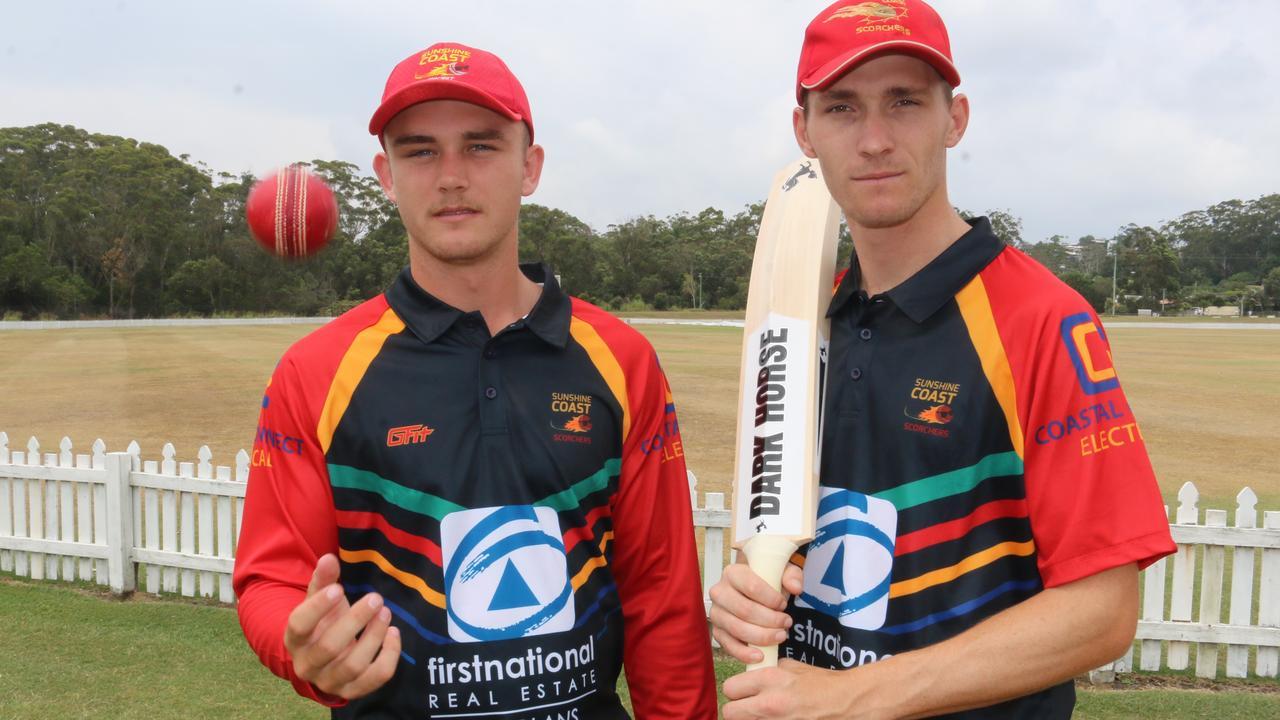 Josh Matthews and Nick Selman in the new Sunshine Coast Scorchers T20 playing strip. Photo: Tom Threadingham