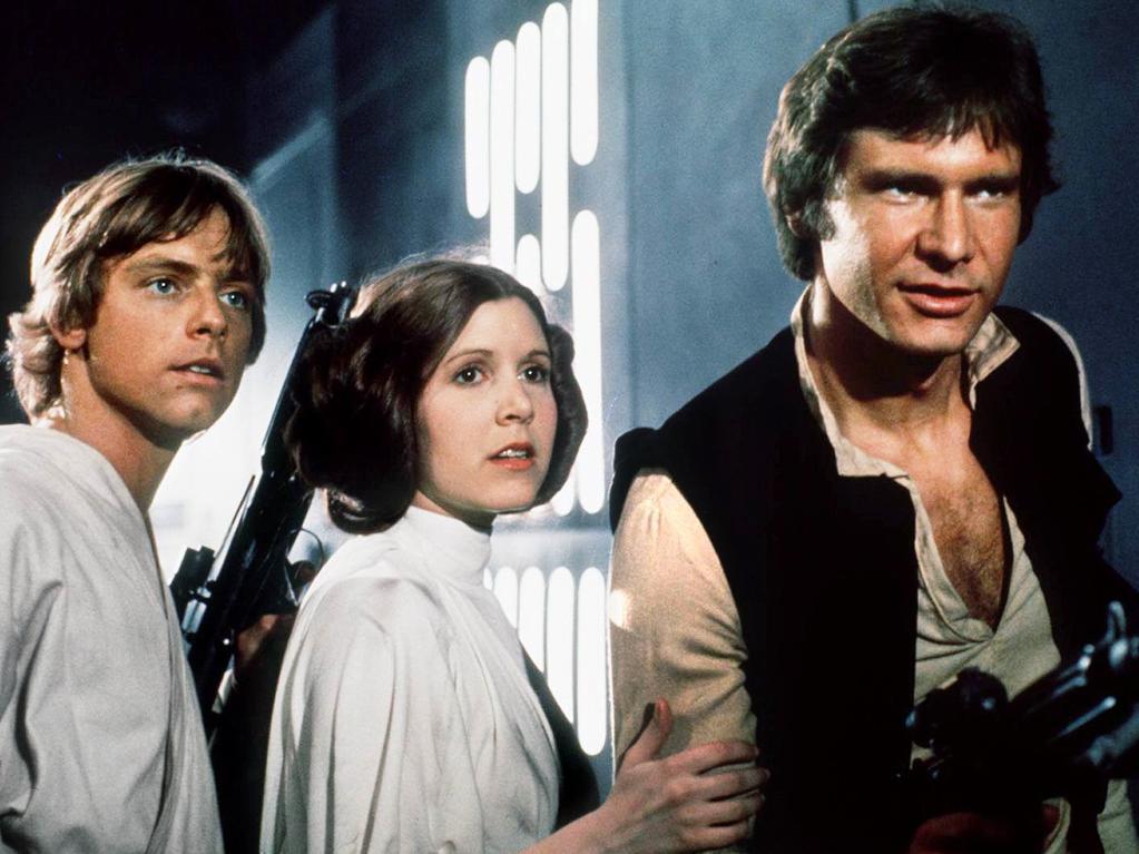 Luke Skywalker, Princess Leia and Han Solo in Star Wars: A New Hope.