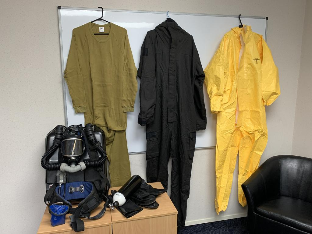Protective gear worn during the Whakaari rescue operation on Friday is seen displayed in New Zealand. Picture: AP