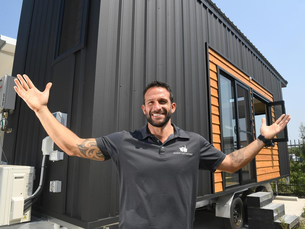 Aussie Tiny Houses at Coolum are helping people live a more sustainable, simple and minimal lifestyle. Operations Manager Thiago Perrone pictured outside a finished tiny house.