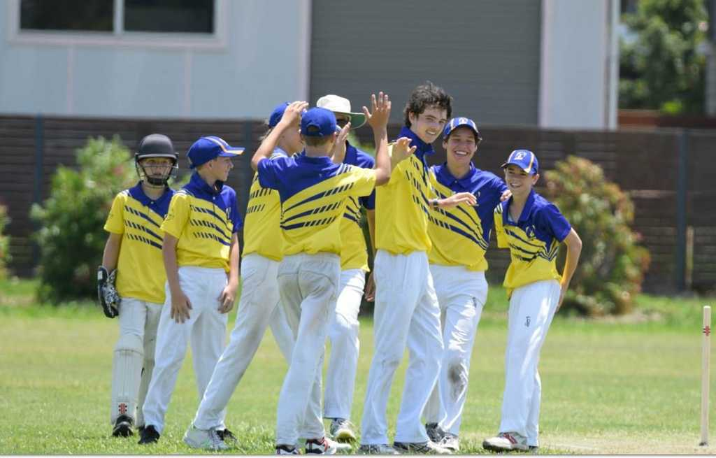 Image for sale: GOT HIM: Coffs Harbour bowler Jack Horseman is congratulated after taking a wicket against Lower Clarence.