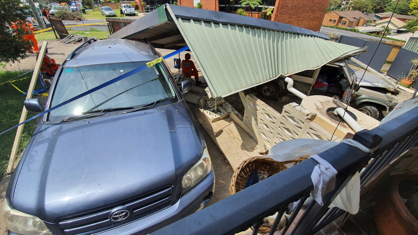 CARNAGE: A car has crashed into the property in the heart of Coffs Harbour.