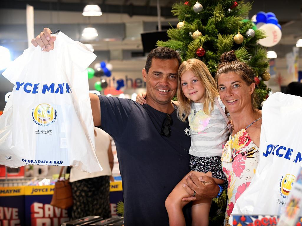 Christmas shopping on the Sunshine Coast Shaun, Sophia and Andrea Olivier from Wurtulla shopped up a storm at Joyce Mayne Maroochydore.