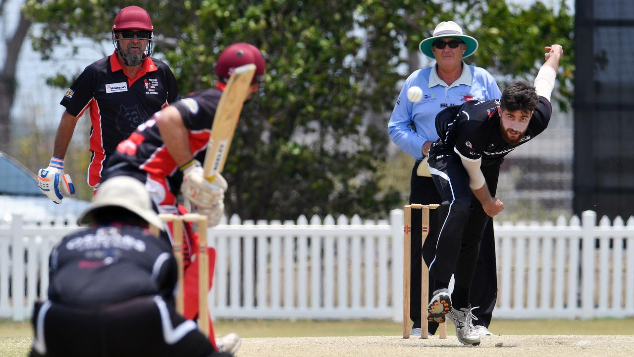 Magpies Conor Bryant bowling to Norths Peter Shepherd. Picture: Tony Martin