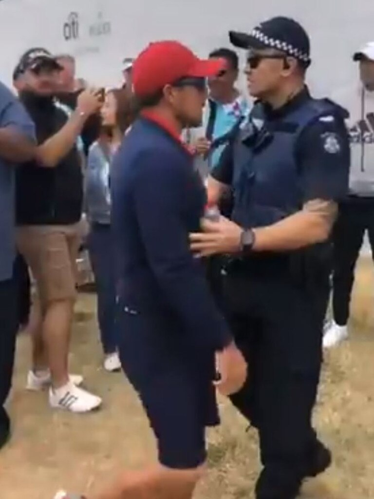 He stormed past a police officer.