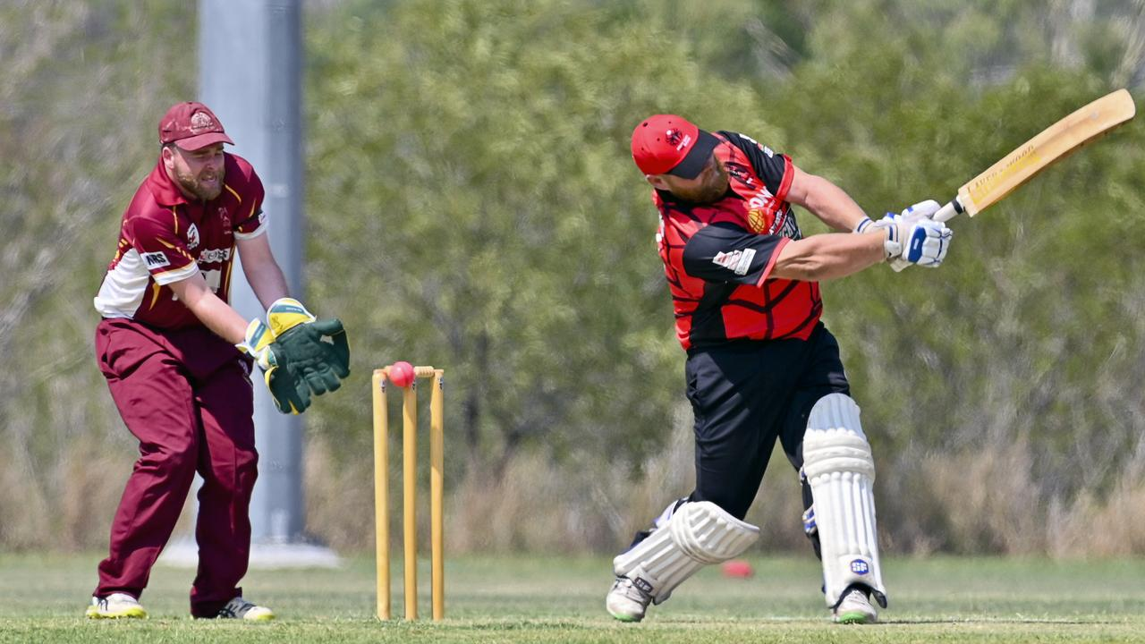 South East Redbacks batsman Daniel Chandler swings hard before being bowled by Centrals' chief wicket-taker Rhys O'Sullivan in Saturday's Baxter Big Bash T20 match at Tivoli. Picture: Cordell Richardson