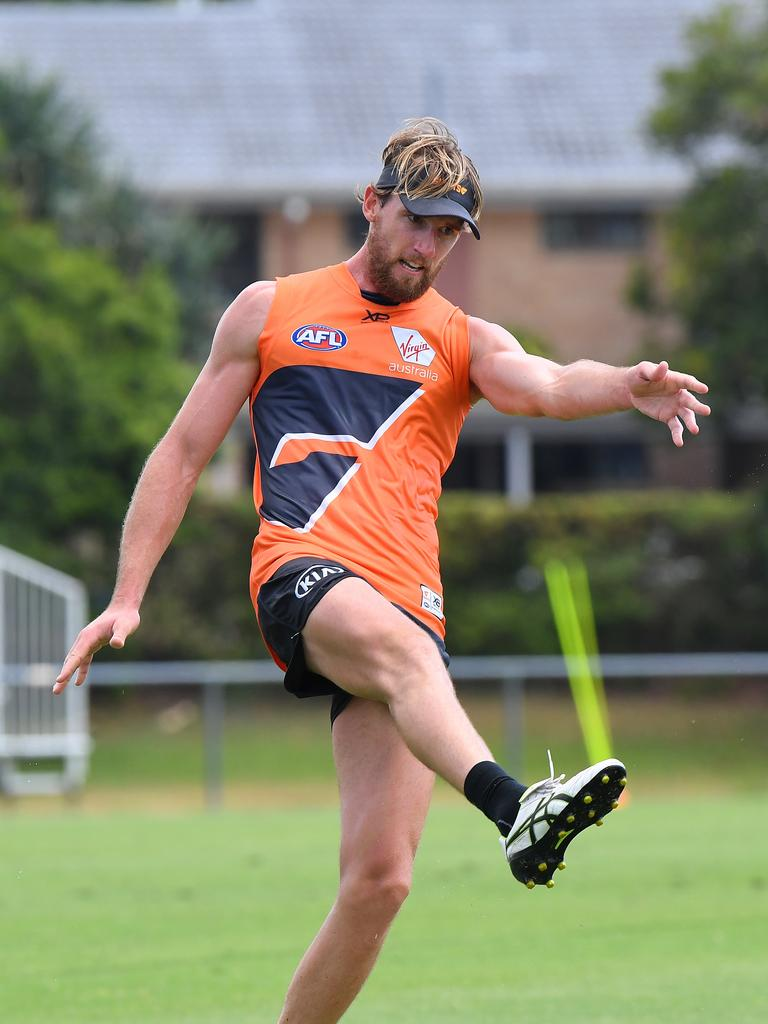 GWS Giants training at the Maroochydore Multi Sports Complex. Lachlan Keeffe training with the team.