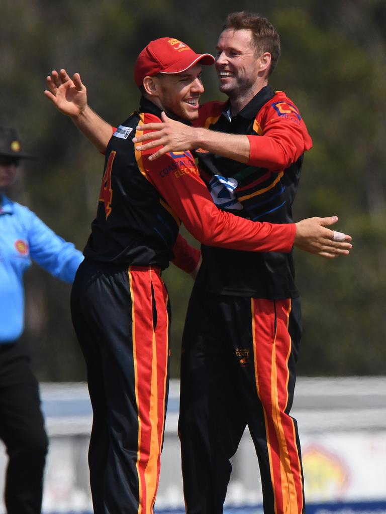 Sunshine Coast Scorchers against Sandgate-Redcliffe T20 cricket match at Kerry Emery Oval.Darryn Dyer and Ben Laughlin celebrate a wicket. Picture: Warren Lynam