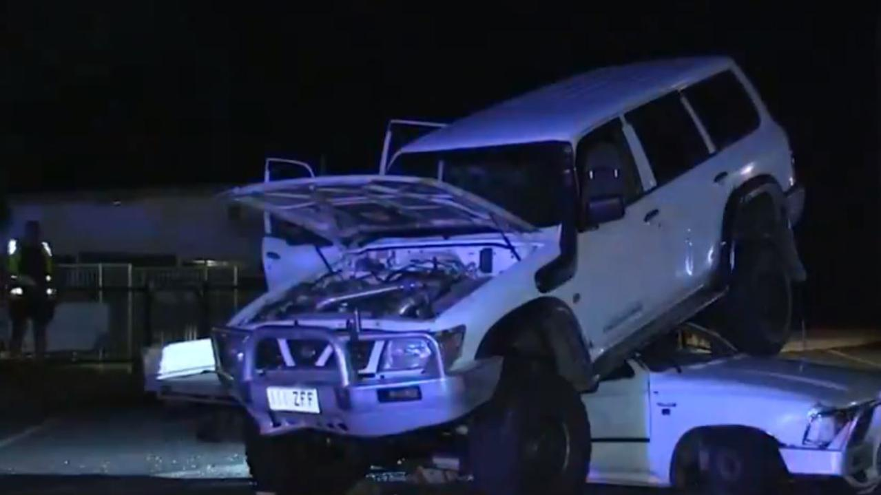A car drove on top of ute after altercation. Picture: Seven News