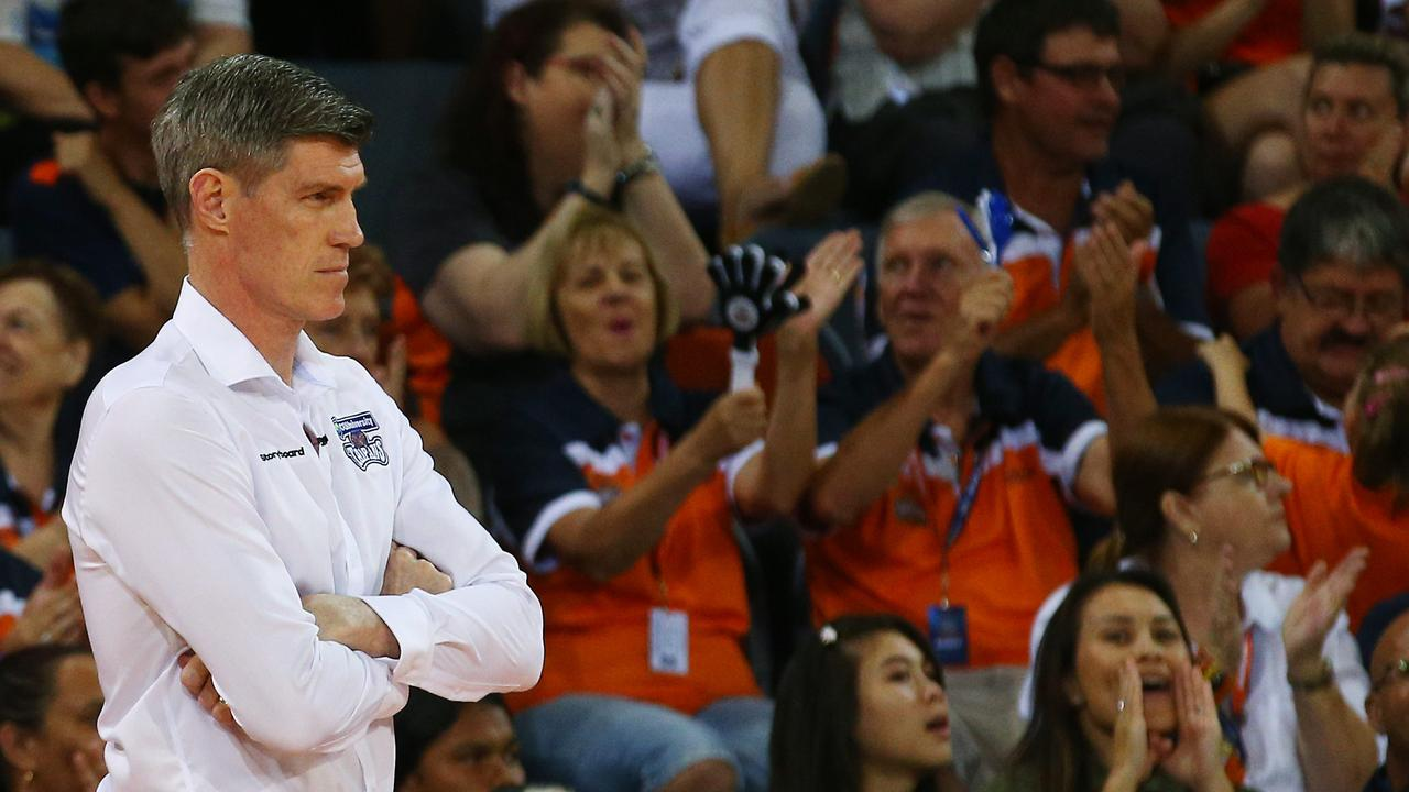 Taipans head coach Mike Kelly watches from the sideline the National Basketball League (NBL) match between the Cairns Taipans and the Perth Wildcats, held at the Cairns Convention Centre. PICTURE: BRENDAN RADKE.