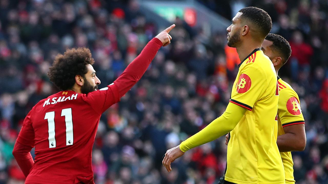 Salah celebrates his team's first goal against Watford. Picture: Clive Brunskill/Getty Images