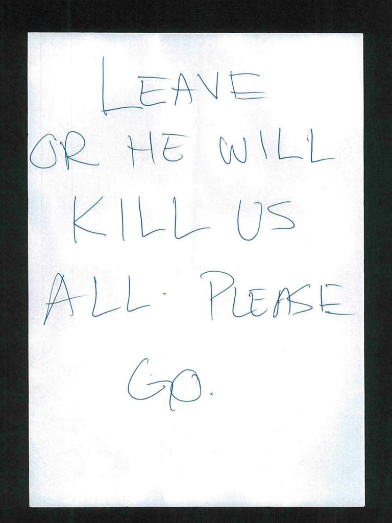 A note passed to police by a hostage during the siege.