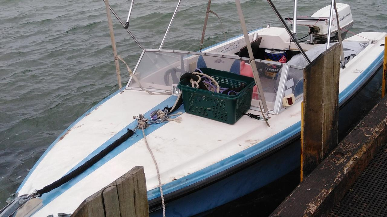 Boat belonging to Felicity Loveday, 83 and her 56-year-old son Adrian Menevau.