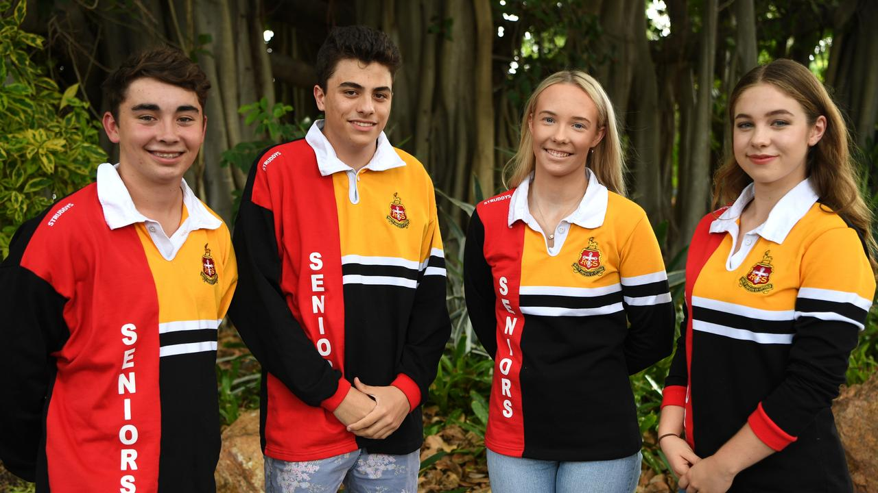 Will Etherington, Antonio Vega-Garcia, Renee Sweeney and Paige Baker from Rockhampton Grammar School share their OP1 news. Picture Jann Houley.
