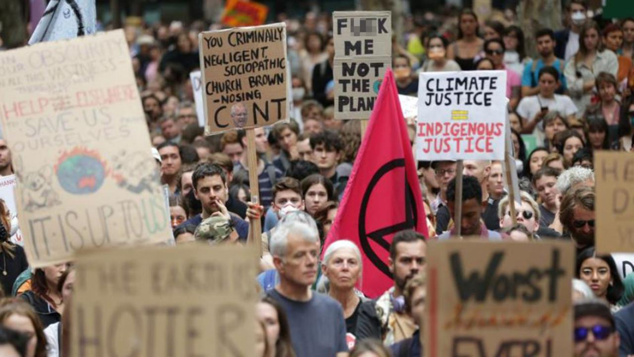 Protesters gather at the Climate Change Rally held at the Sydney Town Hall Square. Picture: Christian Gilles