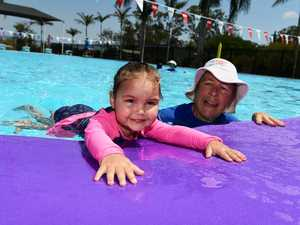 LEARN TO SWIM: Lara Shaw with swim teacher Joanne