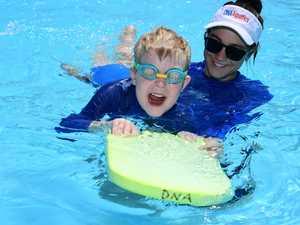 Dean Craig having fun in the pool during a swimming