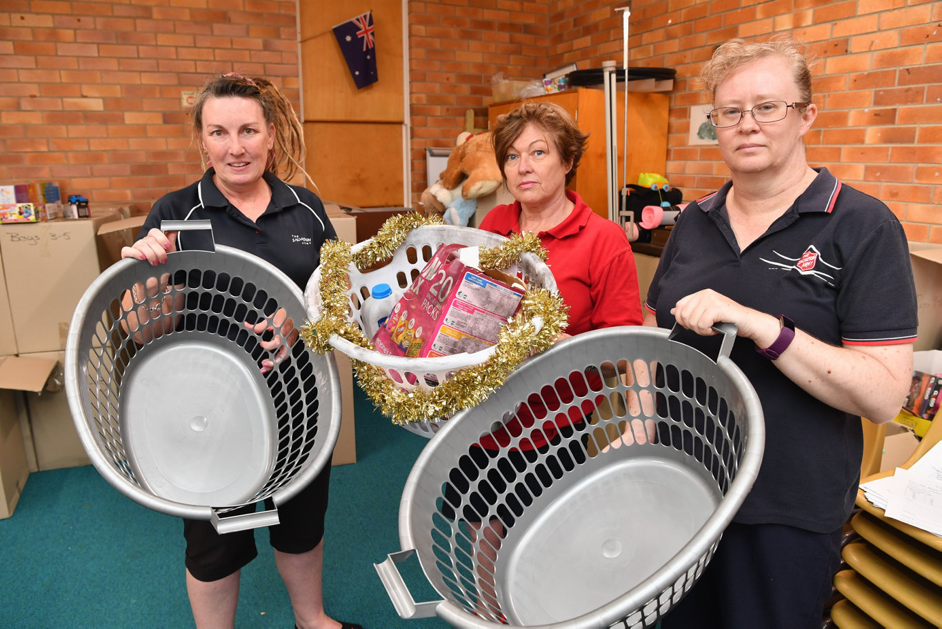 Maryborough Salvation Army had some of its Xmas hamper donations stolen - (L) Deanne Stewart, Cherie Spalding and Cpt Adele Williams with empty baskets.Photo: Alistair Brightman