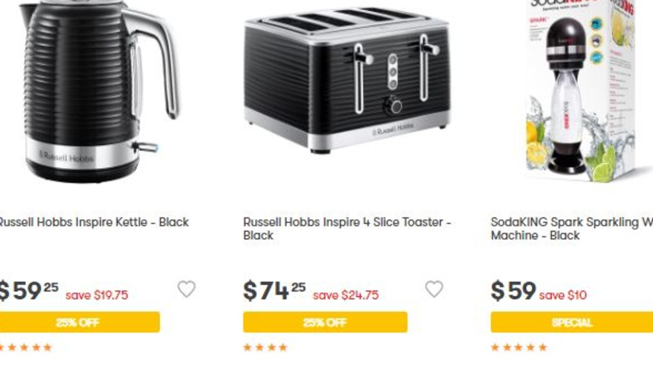 Russel Hobbs kettles, toasters and multi cookers are 25 per cent off. Picture: Big W
