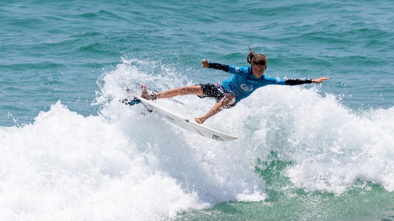 Landen Smales (Noosa, QLD) was crowned champion in the under 14 boys division of the Woolworths Surfer Grom Comps Series, which was held at Coolum Beach on the weekend. Picture: Surfing Queensland / Ben Stagg