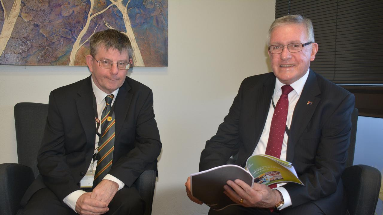 DECISION TIME: South Burnett Regional Council CEO Mark Pitt with Mayor Keith Campbell who is hopeful the third round of funding will be approved. Picture: Jessica McGrath