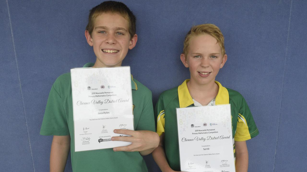 Westlawn Public School Year 6 students Jason Parkes and Ted Hill received Clarence Valley District Awards for their outstanding achievements in the 2019 Newcastle Permanent Primary Mathematics Competition.