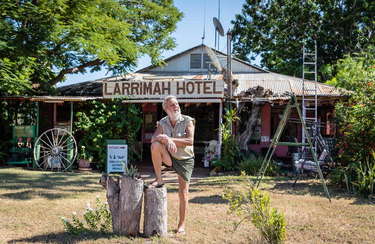Publican Barry Sharpe – pictured at the Pink Panther Hotel in Larrimah – passed away last Saturday, December 7. Picture: Amos Aikman/The Australian