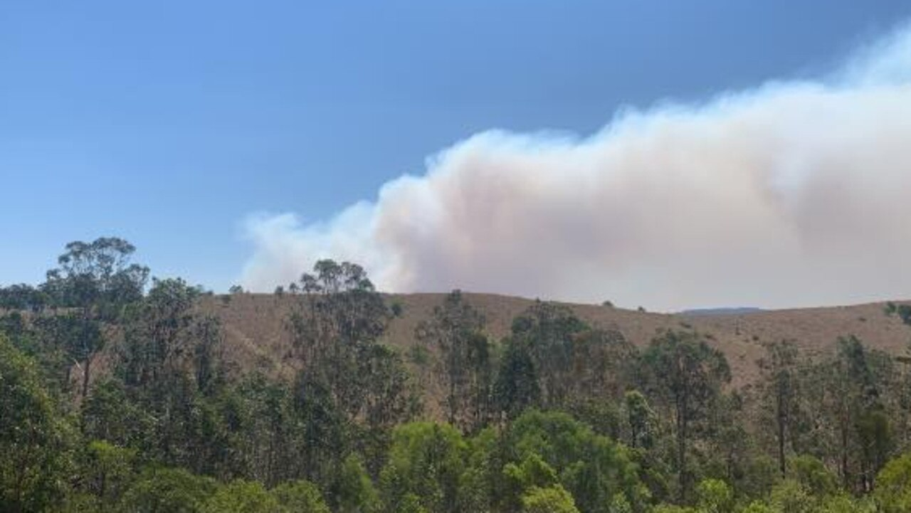 FIRE SEASON: The bushfire on Upper Kandanga Road looking out from Tunnel Road earlier this afternoon. Photo: Rachel Clancy