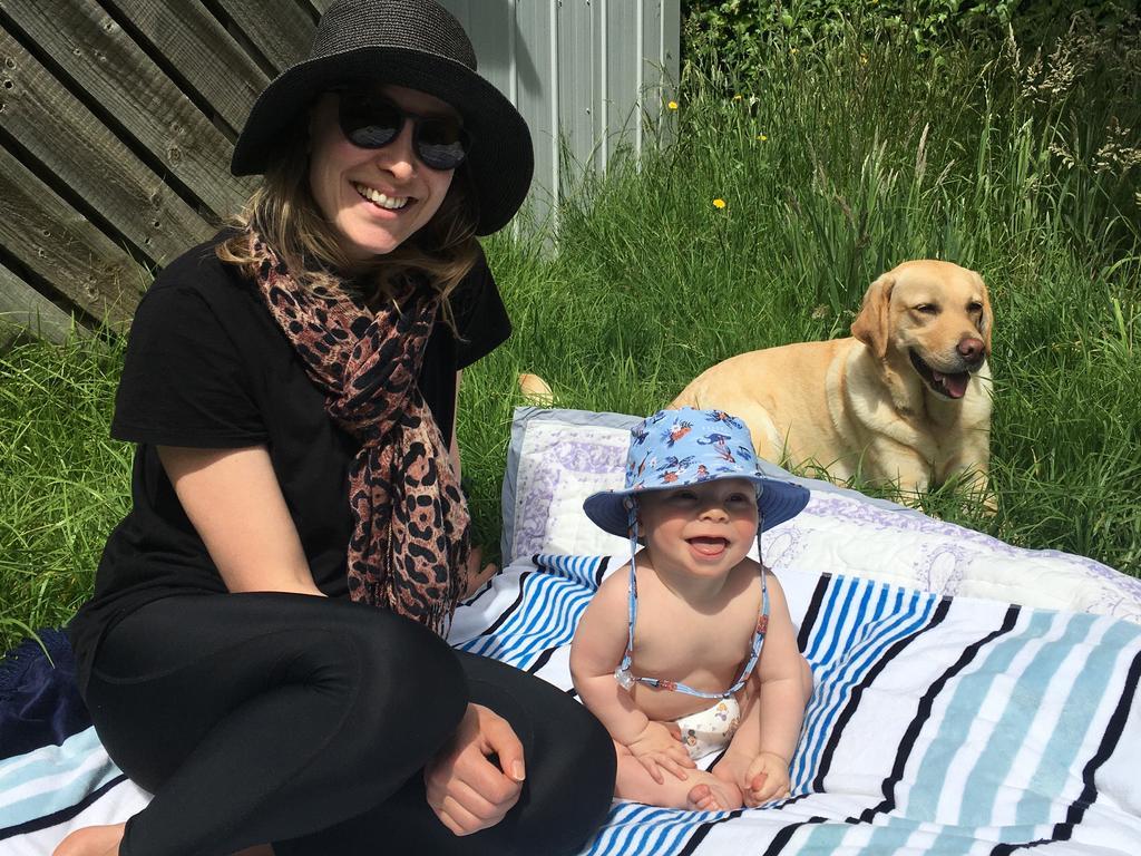 Sarah Tonkin and baby Austin.