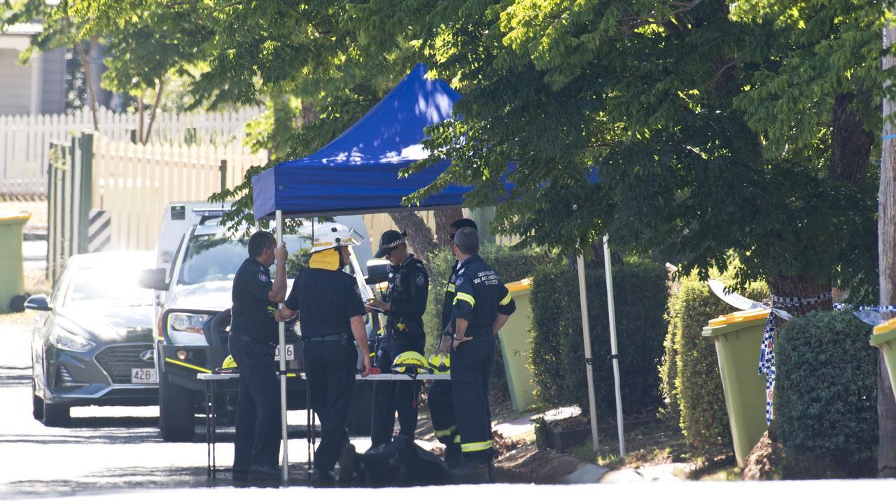 A large crime scene was established at Rivett St. Picture: Kevin Farmer