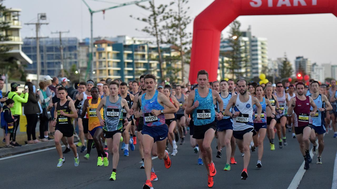 Runners take part in the Sunshine Coast Marathon. Start of the race. Photo: Warren Lynam