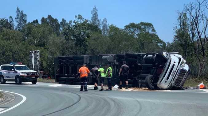 Hot mess as refrigerated truck crashes in heatwave
