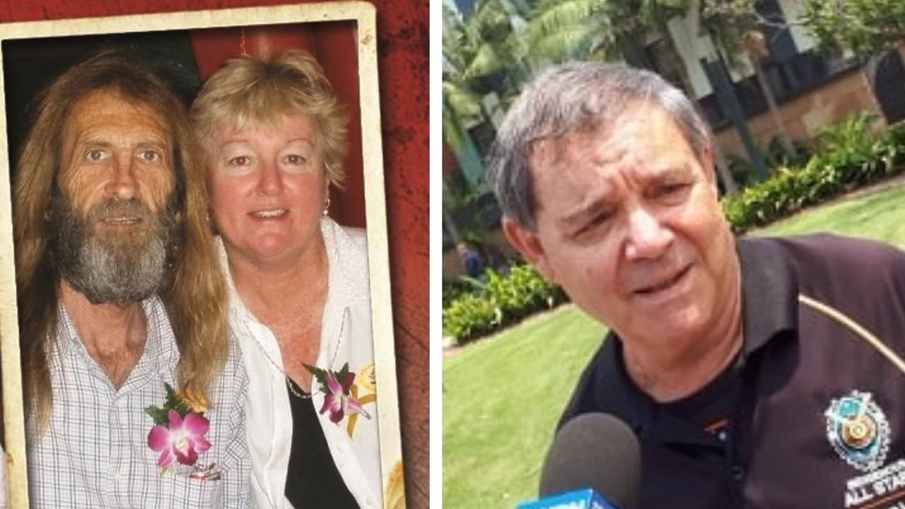 Estranged couple John and Sharon Edwards and (at right) Billy Mills speaks outside Coffs Harbour court on Monday morning.