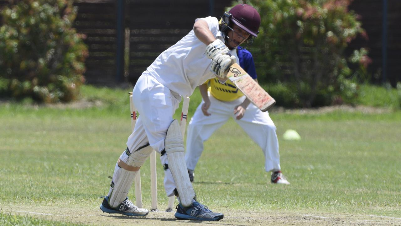 Lower Clarence's Coby Tabor during the under-16 interdistrict cricket finals on Sunday at Richardson Park