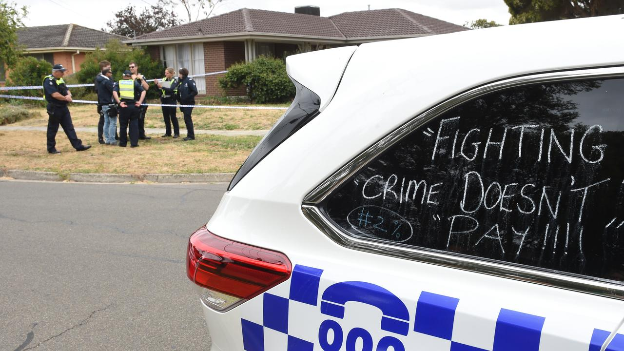 Police are staging industrial action this week, and writing slogans on police cars advocating for a pay rise. Picture: Tony Gough