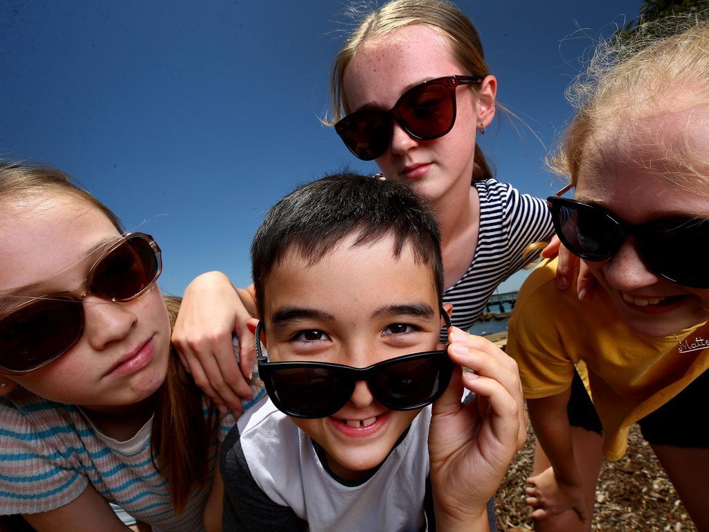 Sebastien Chuvan, 8, with (from left) Siennah Chuvan, 12, Mischa, 13, and Mattea Allison, 11. Picture: Adam Head