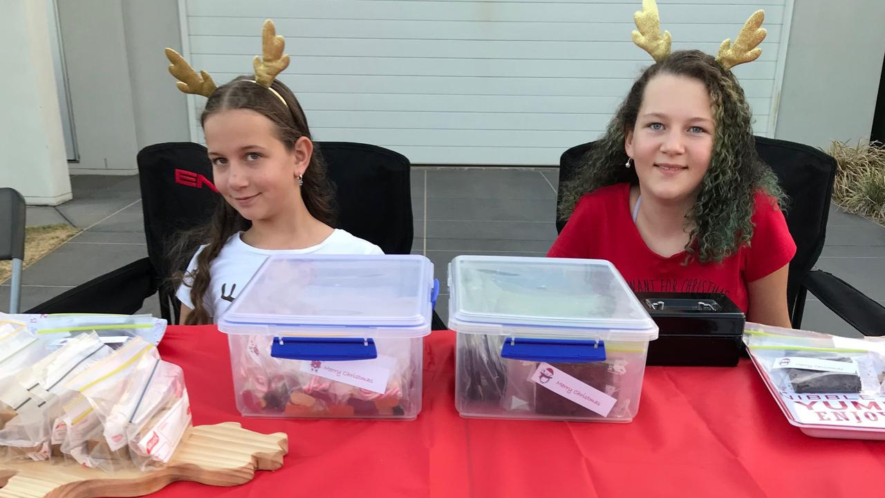 Emilia and Selina Parker raising money for drought-stricken farmers this Christmas.
