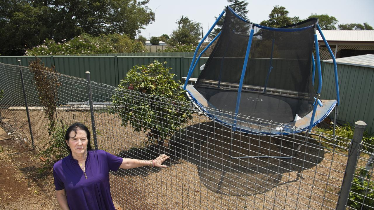 A freak wind gust tossed this trampoline aside and damaged Karin Watson's neighbours clothes line. Picture: Kevin Farmer