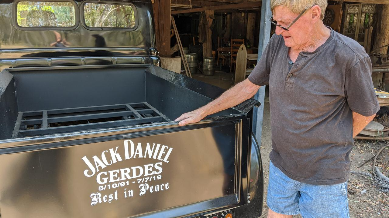 Brian Gerdes with his son Jack's truck, which the family keeps, following Jack's death at Baralaba North on July 7. Photo: Alex Treacy