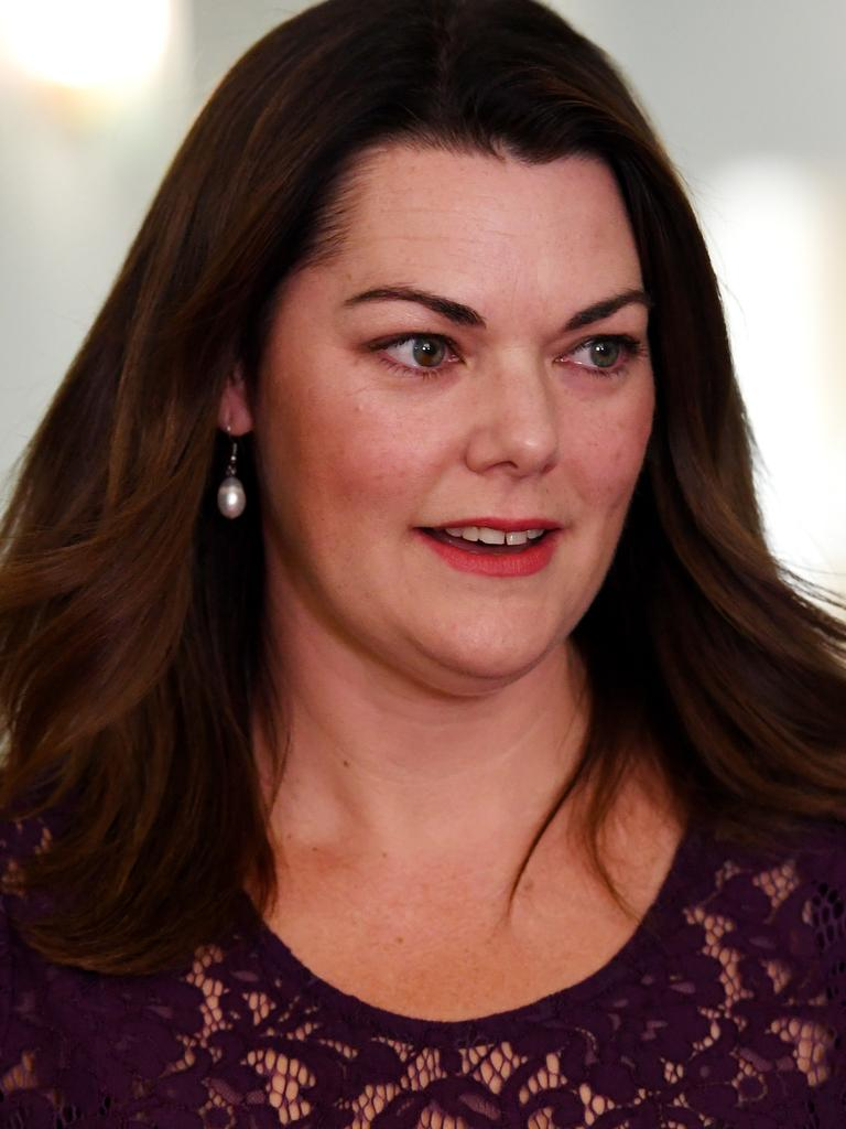 Greens Senator Sarah Hanson-Young speaks to media after winning her defamation case. Picture: Tracey Nearmy/Getty