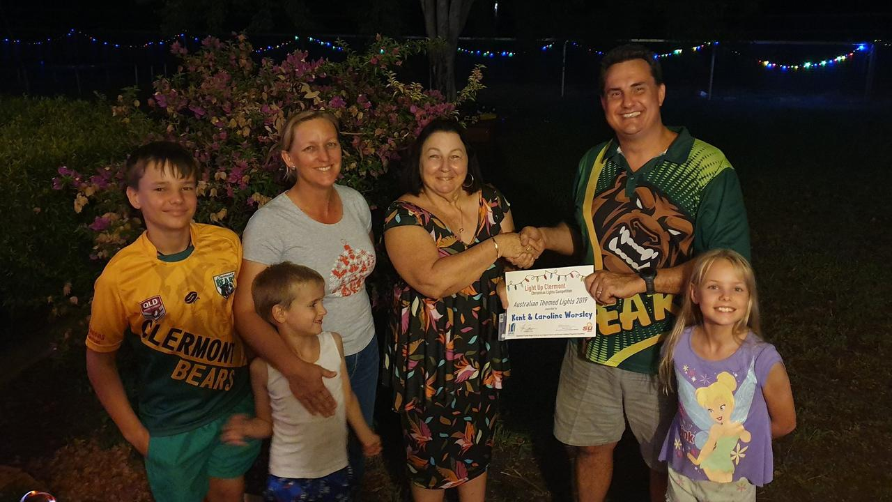 Kent and Caroline Worsley won the best Australian Themed Lights in the 2019 Light Up Clermont Christmas light competition.