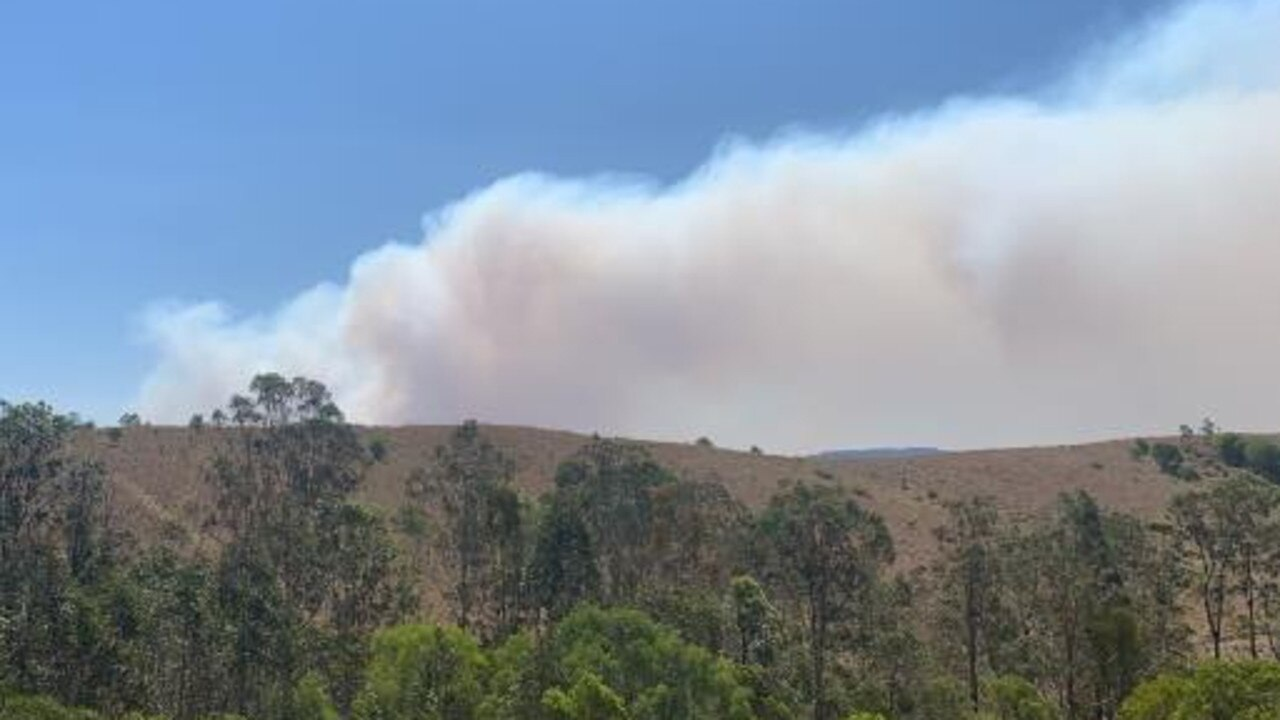 The bushfire on Upper Kandanga Road looking out from Tunnel Road. Photo: Rachel Clancy