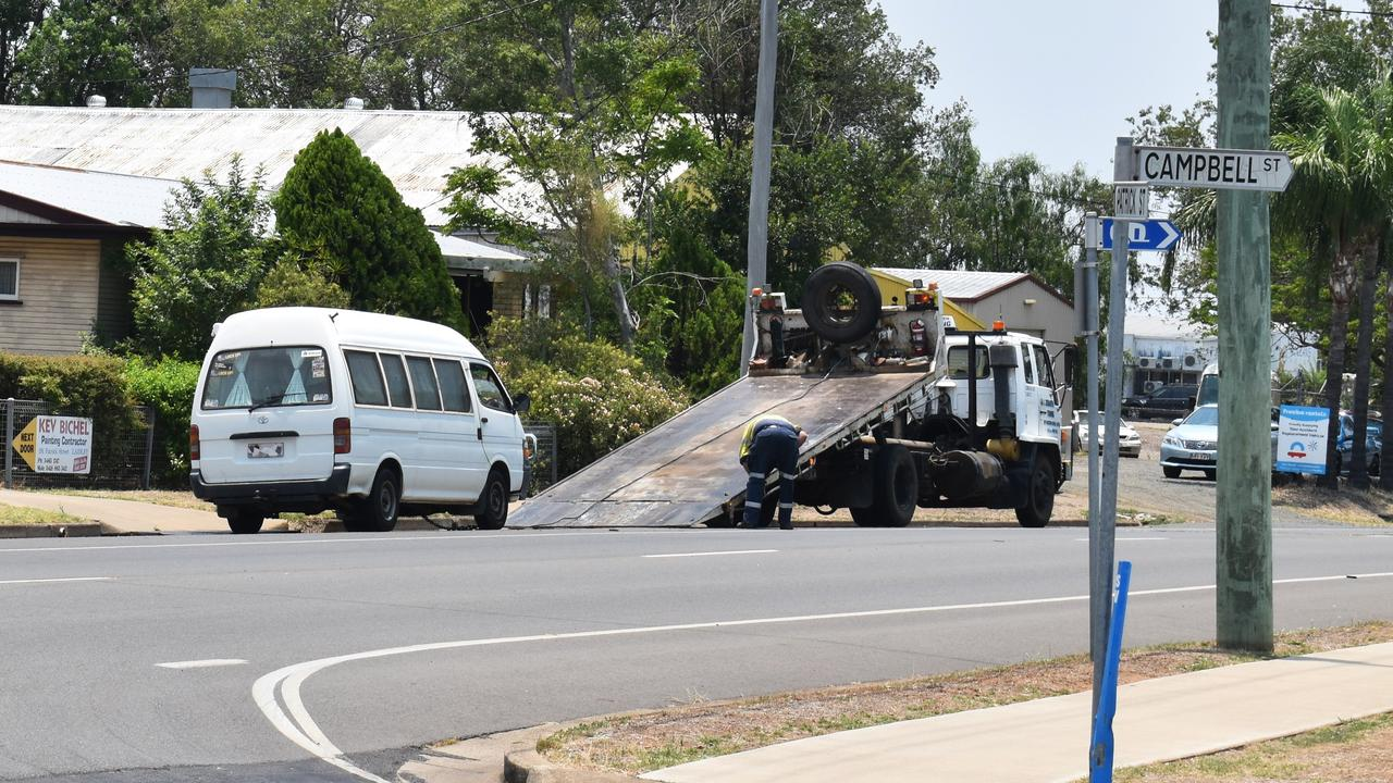 The scene of a fatal crash in Laidley on Tuesday. The van involved in the accident was taken away by police.