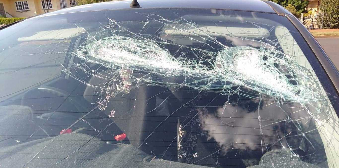 SMASHED: Tracey Berrell's windscreen after it was smashed with a baseball bat.