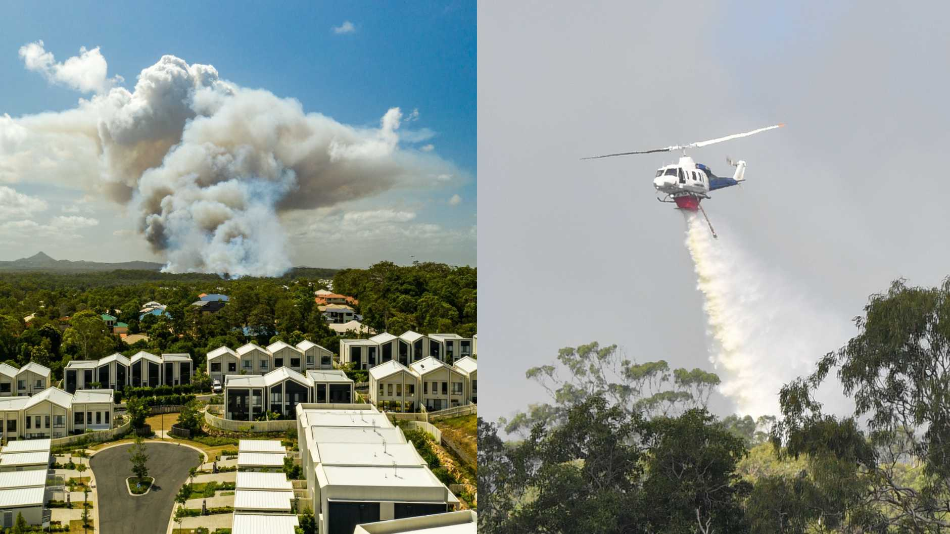 Peregian Springs residents are being urged to evacuate for the third time in four months after a large bushfire broke out this afternoon. Photos: John Park/John McCutcheon
