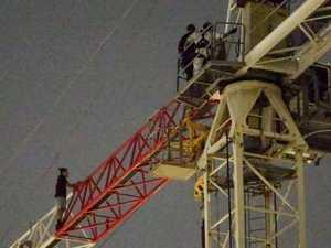 Sky-high drama as man scales huge Sydney crane